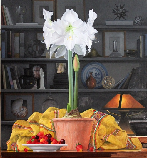 """Still Life with Amaryllis, Evening"" by James Aponovich (2012)/Clark Gallery"