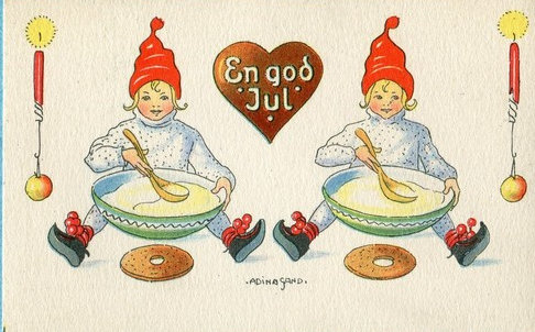 Adina Sand, Swedish miniature postcard, Children eat pudding, Used, 1932-Ebay