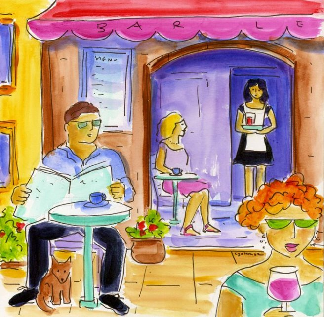cafe provence library show sketchbook style acrylic with watercolor technique