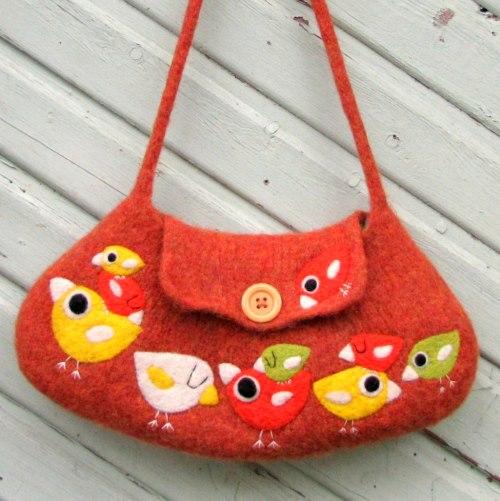 Felted birdie bag