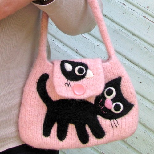 felted cat bag