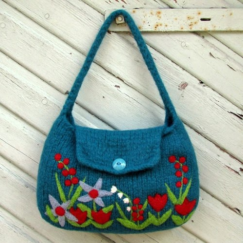 Felted flowered bag